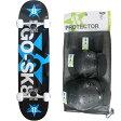 ゴースケート(GOSK8) スケートボード ブラック/ブルー ジュニア コンプリート+プロテクター Sサイズ 3点セット 16set GOSK8-28 PT32 【キッズ 子供 スケボー 保護パッド】