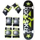 ゴースケート GOSK8 スケートボード キッズ 子供用 コンプリート 31インチ ブラック/ライム+プロテクター ライム GOSK8-31 ジュニア