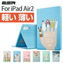 iPad Air2ケースガラスフィルム付きiPad Air2 新発売ケースかわいいスマートカバーオードスリープ傷つけ防止「スタンド機能」レザーケース二つ折ケース 9H硬度ガラスフィルム付きイラストレー