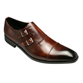[ANTONIO DUCATI] long nose business shoes double Monk (straight tip) DC8413( brown)of the real leather bottom