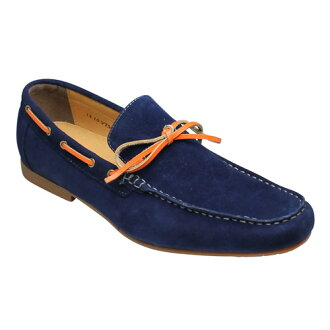 Popular deck-style cowhide leather sedoslippon ( moccasin ), VT5669 Navy suede
