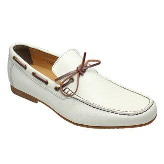 Popular deck-style leather shrink slip-on ( moccasin ), VT5669 (white)