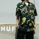 【14:00までのご注文で即日発送可能】 ハフ HUF TENDERLOIN WOVEN S/S SHIRT ウーブン 半袖シャツ BLACK ブラック 黒 メンズ