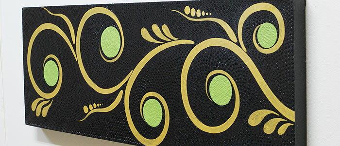 バリ絵画 ドットアート100×35 R アートパネル アジアン バリ 絵画 壁掛け モダンアート インテリア アートフレーム ファブリックパネル モダン 北欧 ドットペインティング