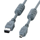 IEEE1394ケーブル(6pin-4pin)(4.5m・ダークグレー) IEEE1394(6pin)の機器とIEEE1394(4pin)の機器の接続用。 KE-464 サンワサプライ