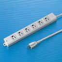 3P・6個口・3Pプラグ1mコード・抜け止め・マグネット付き簡易包装の(工事物件)電源タップ TAP-K6-1 サンワサプライ