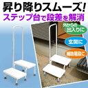 ステップ台(段差解消台)手すり付き 補助階段 玄関用踏み台【送料無料】