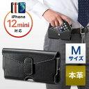 iPhone・スマートフォンベルトケース(iPhone6/5s/5対応・本革・Mサイズ・ブラック)