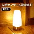 LEDセンサーライト LEDライト 人感センサー 乾電池式 置き型 配線不要 自動点灯 玄関灯 電球色 屋内 室内
