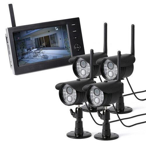 防犯カメラ ワイヤレス 屋外 モニターセット 屋外カメラ4台セット 録画対応 SD/USBメモリー接続対応 EZ4-CAM055-4