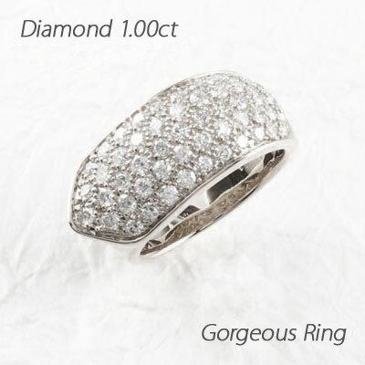 パヴェ ゴージャスリング ダイヤモンド リング ダイヤリング ホワイトゴールド K18WG 1.00ct 指輪 【送料無料】【コンビニ受取対応商品】 K18 ゴールド K18ホワイトゴールド ゴージャス ダイヤリング パヴェ【合理的な構造】