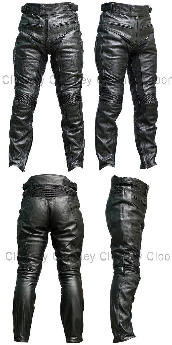 【Clooney】P04 本革 カウハイド レザーパンツ【牛革】ブーツイン メンズ