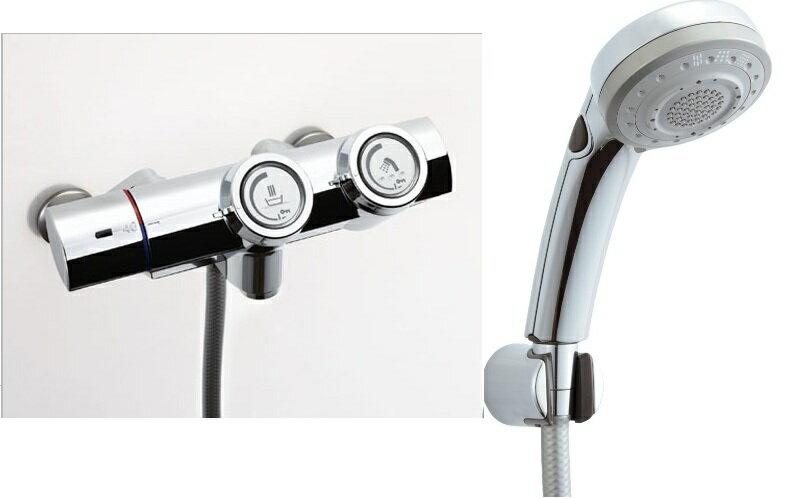LIXIL 【INAX】 シャワーバス水栓プッシュ式 サーモスタット付シャワーバス水栓エコフルスイッチ多機能シャワーBF-HW156TSBW