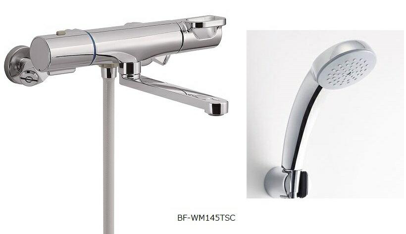 LIXIL 【INAX】 浴室用水栓金具 壁付タイプサーモスタット付シャワーバス水栓エコフルスプレーシャワーメッキ仕様付BF-WM145TSC