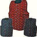 婦人ポンチョ 3色花柄 やっこ 袖なし半天 はんてん 半纏 どてら 丹前 ポンチョ 絣綿 袢纏
