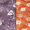 チーフ名物裂 綿両面小風呂敷「紫うさぎ/オレンジ紅葉」中巾 シャンタン地 小ふろしき