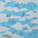 風呂敷 中巾 チーフ 鳥獣人物戯画 青 約48cm ふろしき ナフキン ランチクロス 綿シャンタン生地
