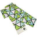 洗える半幅帯 リバーシブル グリーン系三角と小鳥柄 彩陽織 帯単品 四寸 長尺小袋 半巾帯