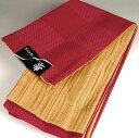 半幅帯 長尺浴衣帯 格子赤/縦縞カラシ