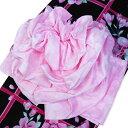 作り帯 浴衣帯 兵児帯 フラワー結び帯 ピンク-蝶々/桜/バラ 結び帯 ゆかた 帯