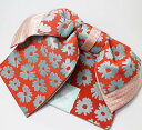 作り帯 浴衣帯 長五重結び帯 両面小袋半幅帯 朱小花