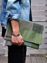 ショッピングバッグインバッグ Mont Livre ミリタリー パッチワーク メンズクラッチバッグ オリーブグリーン バッグインバッグ 男女兼用 男性用 女性用