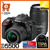 【送料無料】ニコン D5500 ダブルズームキット ブラック【デジタル一眼レフカメラ レンズキット】