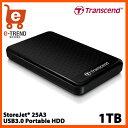 【送料無料】トランセンド TS1TSJ25A3K [USB3.0&2.0対応ポータブルHDD StoreJet 25A3シリーズ 1TB スリムタイプ厚さ15mm]