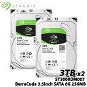 ★お得な2台セット★SEAGATE ST3000DM007 BarraCuda(3TB 3.5インチ SATA 6G 256MB)