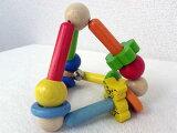 【GO-20634】[Gogo Toys gogotoizu公司]木制布偶 三角形?是gogotoizu公司的熊先生和花,铃等盛抱的先生的可爱的三角形型的木制布偶(直爽)。[[Gogo Toys ゴーゴートイズ社]木製ラトル トライアングル〜ゴーゴート