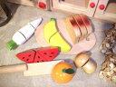 [ダイワ]木箱入り食材・包丁・まな板のセットC〜ミニキッチンにぴったりサイズのおままごとシリーズ。