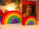 Grimm's Spiel & Holz Design グリムス社 虹色トンネル 小〜ベビーからごっこ遊びの頃まで。ドイツ・グリムス社の一つの木を切って入れ子に...
