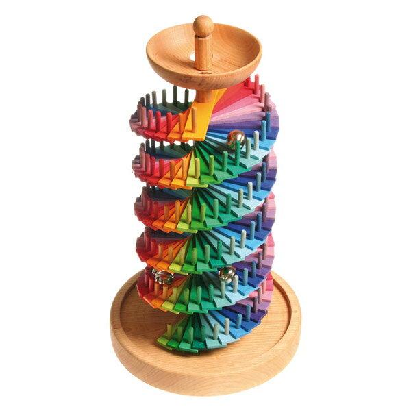 Grimm's Spiel & Holz Design グリムス社 組み立て玉の塔〜ドイツ・グリムス社の美しい色彩の組み立て式の2重螺旋の木製スロープトイ。繰り返しビー玉転がしが楽しめます。【02P01Oct16】
