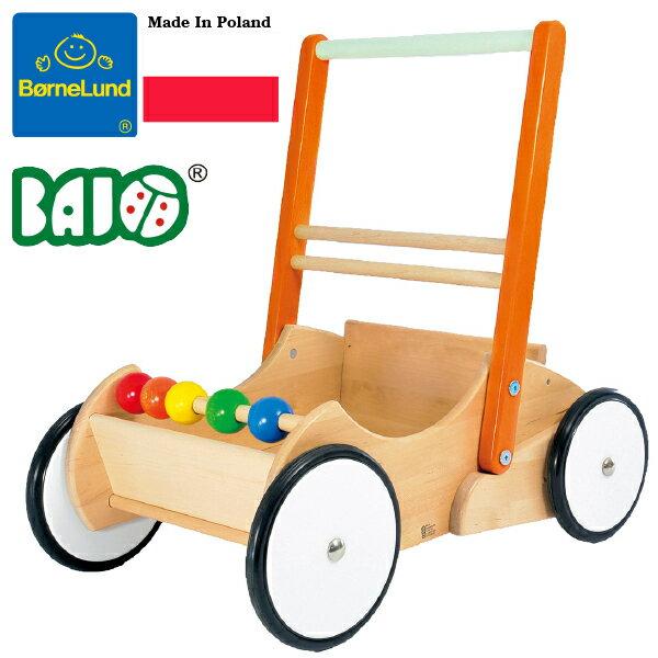 BornelundボーネルンドBAJOバヨベビーウォーカー木製手押し車BAJOバヨ社の、男の子、女の