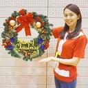 ゴールドリボンリース 60cm / ディスプレイ クリスマス装飾 デコレーション