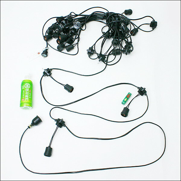 祭り用ちょうちん電気コードD 20灯ソケットゴム製(50cm間隔)【ちょうちんコード 提灯コード】