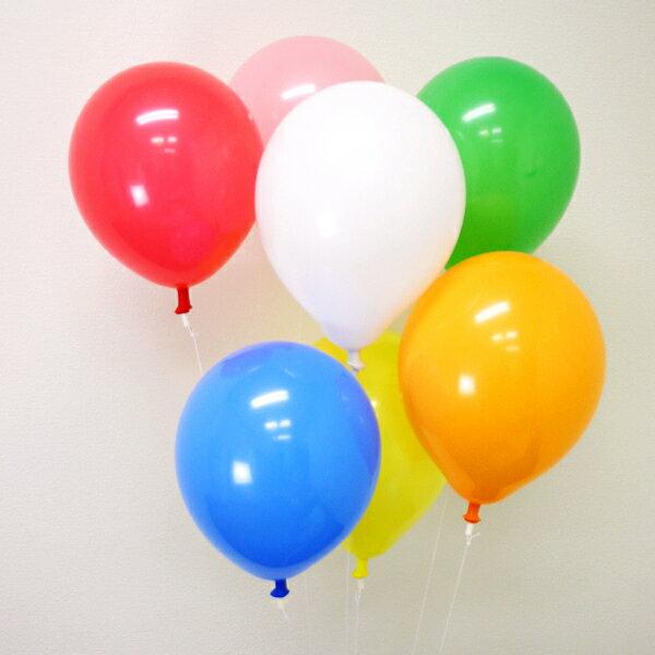 天然ゴム風船 無地カラーヘリウムガス用(100ヶ) ワンタッチバルブ、糸付【バルーン】/ 動画有