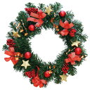 クリスマス装飾 デコレーションリース レッド 40cm / クリスマス 飾り ディスプレイ [北海道 沖縄 離島への配送不可]