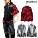 シャツ チェックシャツ メンズ 長袖 ブロックチェック シャツ 春 秋 レッド 赤 : 両サイド裾がジッパーで開閉可能なブロックチェックシャツ!