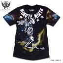 スカル 宇宙 ギャラクシー プリント Tシャツ メンズ ダンス 衣装 / 「MINUTE MIRTH」ワールド全開のスカル&宇宙総柄プリントTシャツ!