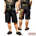 送料無料!デニム ショートパンツ メンズ ハーフパンツ : ブランド名に偽り無し!「SUGOI」の和柄刺繍デニムハーフパンツ!【短パン 般若 鯉 タトゥ ショートパンツ】
