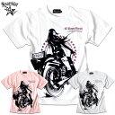 Tシャツ メンズ ガールプリント バイク 半袖 バイカー 女の子柄 キャラクター ホワイト 白 ピンク tシャツ Anarchist JAPAN x EVERSOUL