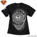 スーパーマン Tシャツ メンズ SUPERMAN アメコミ DCコミックス ブラック ウォッシュ ビンテージ マーク グッズ