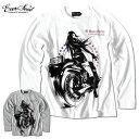 Anarchist JAPAN ガールプリント ロンT バイカー メンズ バイク 長袖 ロングTシャツ EVERSOUL コラボ 綿 コットン 杢グレー