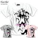 Tシャツ メンズ ガールプリント 半袖 ヌード 女の子柄 キャラクター ホワイト 白 ラメ 杢グレー ピンク tシャツ Anarchist JAPAN x EVERSOUL