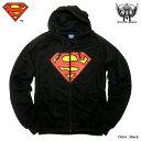 スーパーマン パーカー グッズ メンズ ジップパーカー 裏起毛 SUPERMAN パーカ ブラック アメコミ DCコミックス メンズファッション おしゃれ