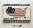 ウッデン ウォール プレート US MAP サインプレート 壁掛け WOODEN WALL DECO PLATE アメリカ アメリカン 看板 カンバン アンティーク