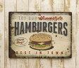 アンティーク エンボス ティン プレート ハンバーガー サインプレート 壁掛け TIN PLATE 凸凹 HUMBURGERS アメリカン 看板 カンバン
