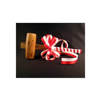 [celebration / cutting of the New Year's rice cake use] a wooden hammer [with red-and-white ribbon]