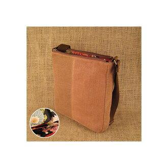 【Lsize】Kakishibu dyed cotton Shoulder bag with Kimono pattern lining